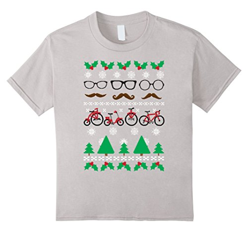 Kids Ugly Sweater Hipster Glasses Mustache Cycles Graphic T-Shirt 8 - Girl Ugly Glasses