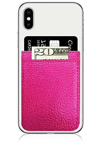 iDecoz Phone Pockets - Stick On Credit Card Wallet - Slim Card Holder - Universal fit - Apple - iPhone - Samsung - Galaxy - and More. (Hot Pink Leather)