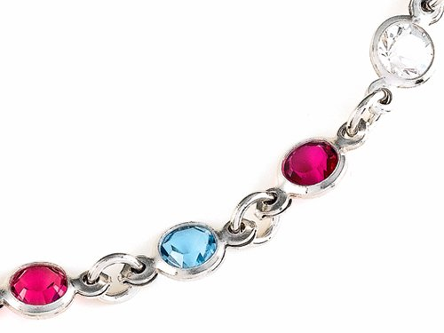 Finejewelers 10 Inches Ankle Bracelet with Simulated Stones Sterling Silver by Finejewelers (Image #2)
