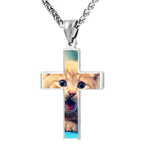 Gjghsj2 Cross Necklace Pendant Religious Jewelry Smile Cat Puppy For Men Wome -