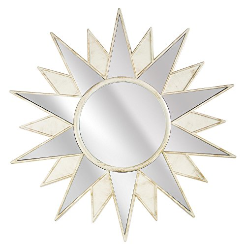 Millennium Art Framed Art Deco Sunburst Starburst Wall Vanity Mirror - Cream ( 22