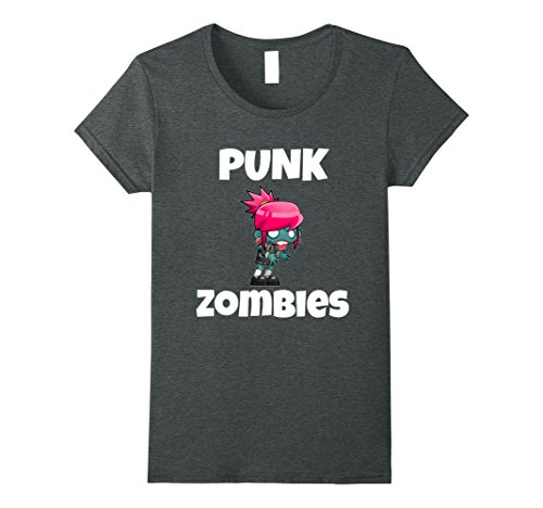 Womens Halloween T-Shirt - Punk Rock Girl Zombie Goth Funny Shirt Small Dark Heather
