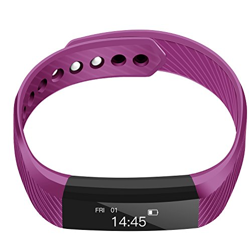 Fitness Tracker ID115 Smart Bracelet IP67 Waterproof Bluetooth Notification Push Sleep (Purple) by XUSITON
