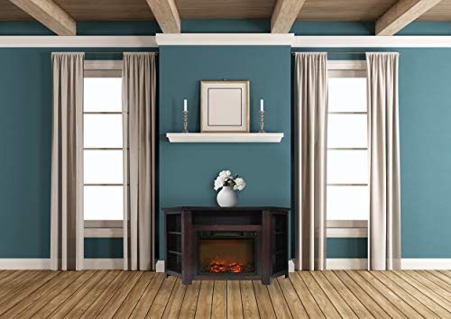Cambridge CAM5630-1MAH Stratford 56 In. Electric Corner Fireplace in Mahogany with 1500W Fireplace Insert
