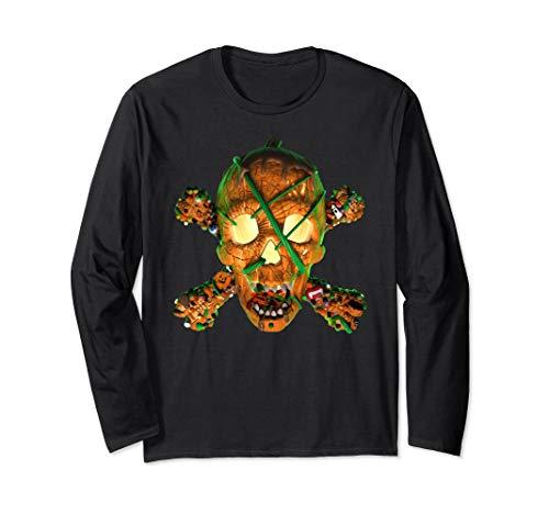 Pumpkin Skull with Cross Bones Halloween Candy 3D T-Shirt -