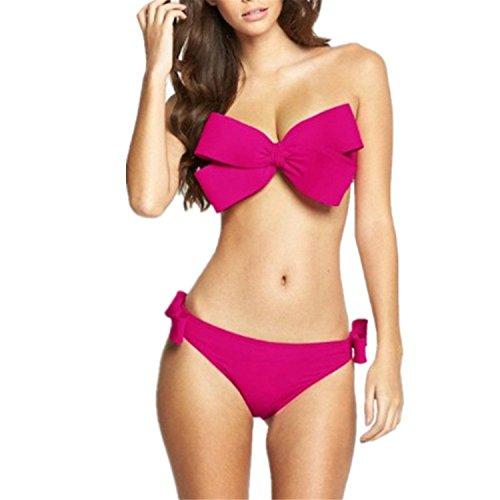 Hannah Jen New Women's 2pcs Bikini Cute Bow Padding Swimwear Set Yellow L