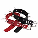 Happy Memories Unisex Simulated Leather PU Punk Rock Gothic Spikes Rivets Choker Collar Necklace, Black Red, free size (Color: Black Red, Tamaño: free size)