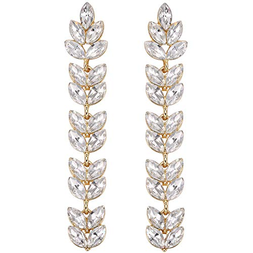 (Stylebar Long Chandelier Dangling Earrings Clear Leaf Marquise White Austrian Crystal Dangle Earring Gold-tone for Women Wedding Brides and)