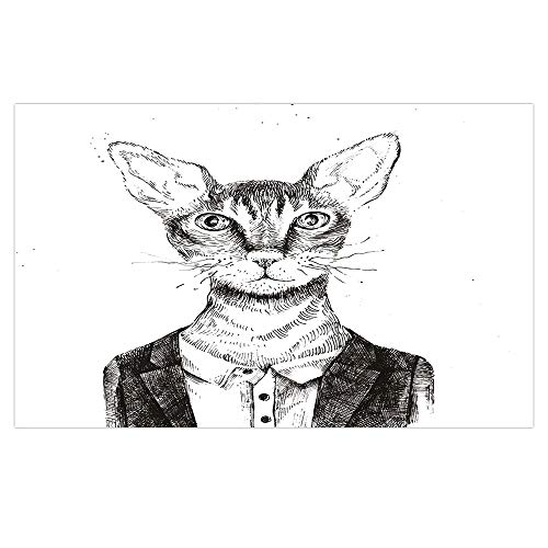3D Floor/Wall Sticker Removable,Quirky Decor,Hipster Cat Dressed Up in Urban Style Portrait Sketch Vintage Anthropomorphic Decorative,Black White,for Living Room Bathroom Decoration,35.4x23.6