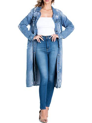 BEYONDFAB Women's Destroyed Boyfriend Long Denim Jacket Medium Denim M
