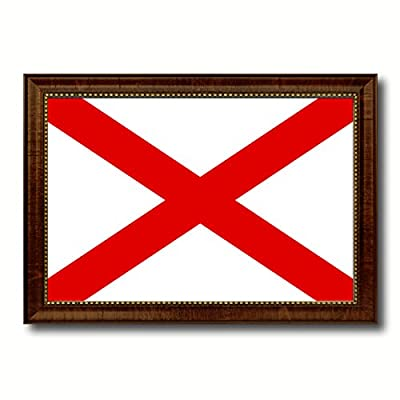 Alabama State Flag Canvas Print with Brown Picture Frame Home Decor Wall Art Decoration Gift Ideas
