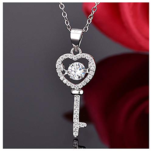 - 925 Sterling Silver Love Heart Dancing Cubic Zirconia Pendant Key Crystal Necklace for Couple Valentine's Day