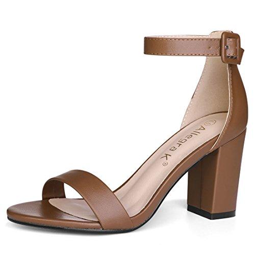Allegra K Womens High Heel Ankle Strap Sandals Brown QKN2RAqfP