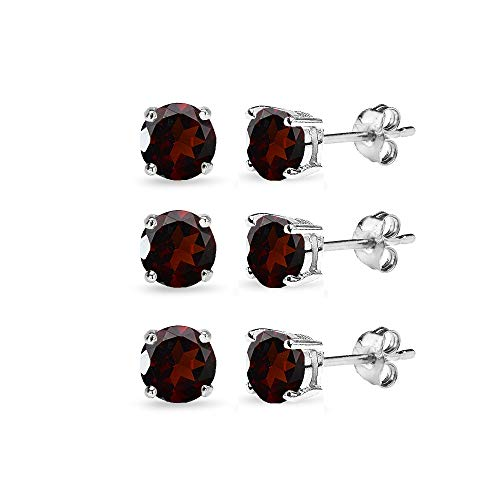 3 Pair Set Sterling Silver 6mm Garnet Round Stud Earrings for ()