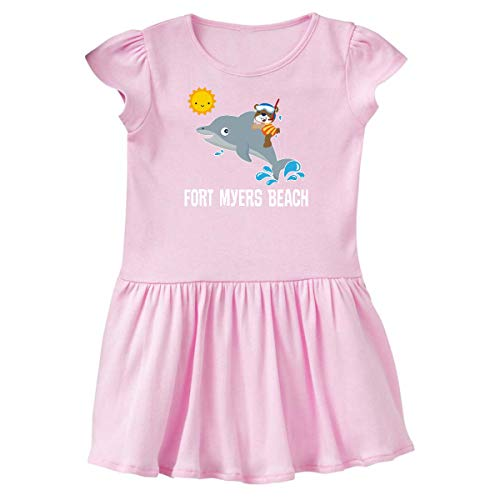 inktastic Fort Myers Beach Florida Dolphin Toddler Dress 2T Ballerina Pink - Fort Myers Pink Girl