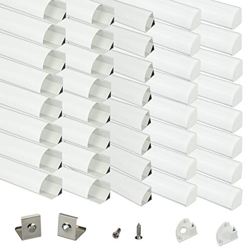 - Muzata Aluminum Channel For Led Strip Light With Milky White Curved Diffuser Cover, End Caps, and Mounting Clips. Right Angle Aluminum Profile, with Video V-Shape, 40-Pack 3.3ft/1M V1SW,series LV1