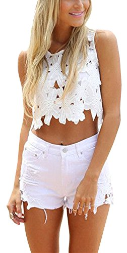 Coton Taille Taille Bleu Chaud Holiday Shorts Jean Trous De Pantalon D't Bohme Haute Ladies Clair lastique Resort Nightclub Denim en Blanc en Dentelle Short Rtro Beach Beautisun qw6UYn