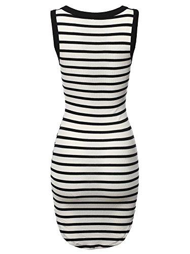 Casual Emma White Fewdrv0032 Basic by Stretchable Made Soft Black Cute Dress Bodycon Stripe Women's 57Fw4qI