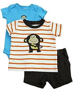 Carters Infant Boys Orange Striped Monkey T-Shirt Creeper & Shorts 3P Set