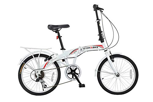 Stowabike 20' Folding City V3 Compact Foldable Bike – 6 Speed Shimano Gears White