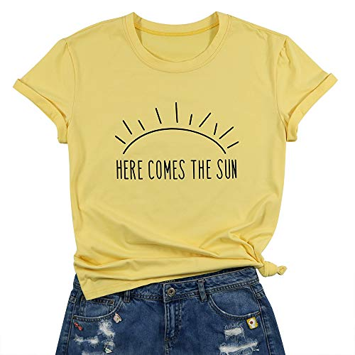 (Here Comes The Sun T-Shirt Summer Beach Tee Sunshine Graphic Print Vacation Shirt Top for Women Size XL(Yellow))