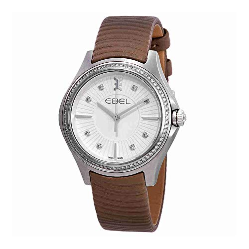 Ebel Wave Silver Dial Ladies Taupe Leather Watch 1216297
