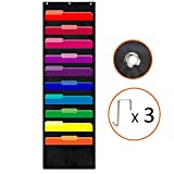 Easepres Hanging File Folder Organizer Wall File Holders Classroom Pocket Chart, 10 Pockets, 3 Hangers Cascading Wall Organizer, Perfect for Home, School, Office Organization