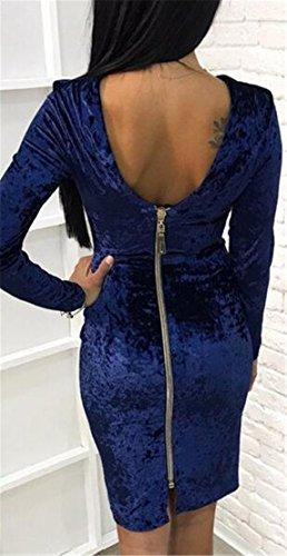 Jaycargogo Womens Sexy Avant Manches Longues Fermeture Moulante Robe De Soirée Bleu Midi