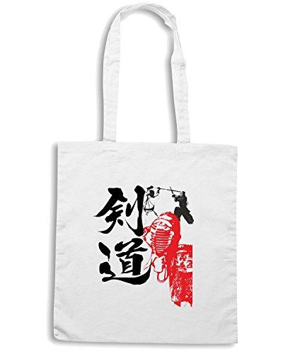 T-Shirtshock - Bolsa para la compra T0398 kendo arti marziali Blanco
