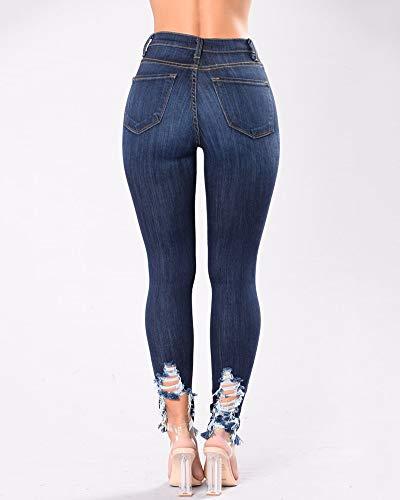 Donna Scuro Skinny Slim Jeans Jeggings Pantaloni Matita Denim Yonglan Vita Strappati Blu Alta Fwa6d6q
