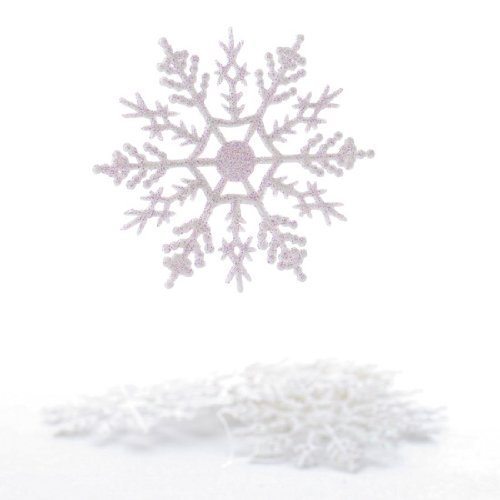 Plastic Snowflake Ornaments, tiny 24pcs Sparkling White