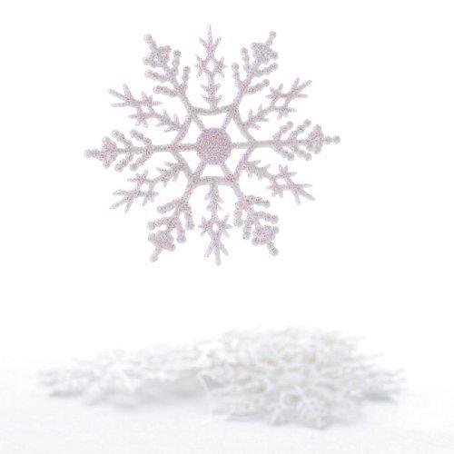 Plastic Snowflake Ornaments, tiny 24pcs Sparkling White