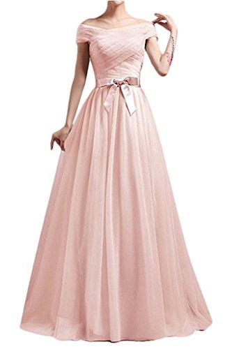 A La Partykleider Lang mia Tanzenkleider Festlichkleider Rosa Hell Ballkleider Schulterfrei Abendkleider Brau Linie Hqx0wraH