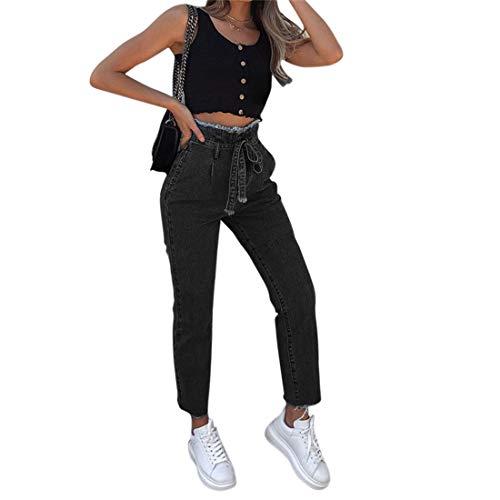 Pantalon Jambe Jeans Lace Up Denim Décontracté Casual Shujin Haute Femme Avec Noir Taille Large Ceinture xqInaWEw