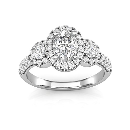 6b296c2351af14 14K White Gold Three Stone Oval Halo Engagement Ring Vintage Filigree Engagement  Ring Oval Ring Pave Ring Forever One Colorless Moissanite Center Ring For  ...