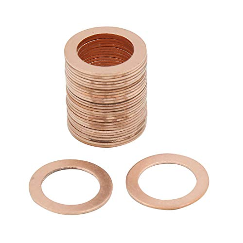 X AUTOHAUX 17mm Inner Dia Copper Flat Washers Car Sealing Gaskets Plate Rings 30pcs by X AUTOHAUX (Image #3)