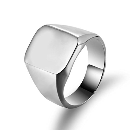 Price comparison product image Mens rings,Lamolory Solid Polished Stainless Steel Band Biker Signet Ring