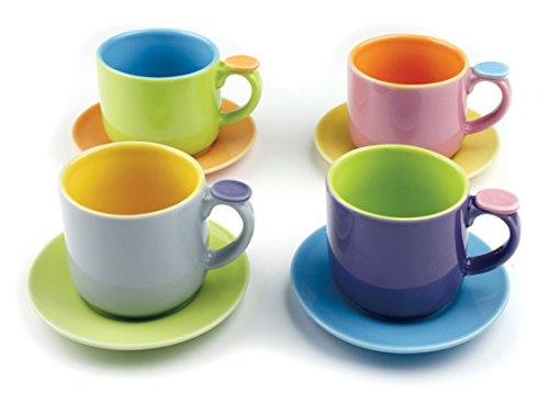 Omniware 1100290 Hemisphere Demitasse Cups & Saucers Set, Set of 4, Multicolored