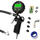 Attom Tech Digital Tire Inflator Gun with Pressure Gauge (250 PSI) Deflator Gun,Air Chuck,Compressor Accessories Heavy Duty Valve Extender,Quick Connect Coupler for Car,Truck,SUV,RV,Motorcycles,Bikes
