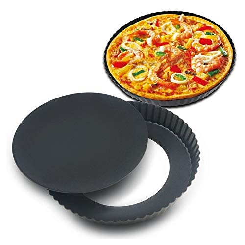 (Aviat 1Pc Round Non-Stick Removable Base Bottom Quiche Pizza Pan Baking Tray Cake Bakeware Loaf Making Mould DIY for Birthday Party [L])