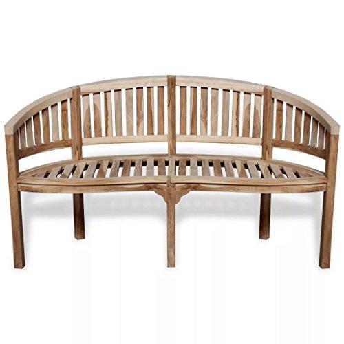 Daonanba Outdoor Bench Garden Bench Comfortable Elegant Patio Furniture, Weather Resistant, Easy to Clean Teak Banana Bench 59.4