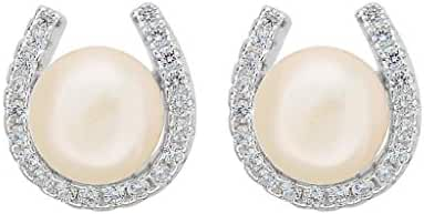 EVER FAITH 925 Sterling Silver Elegant Pave Cubic Zirconia Lucky Horseshoe Stud Earrings Clear