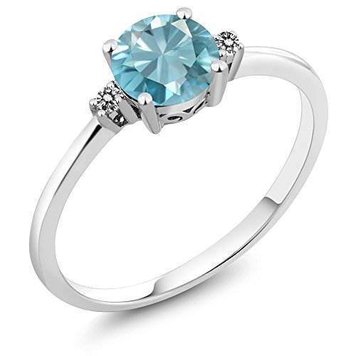 10K White Gold 1.23 Ct Round Blue Zircon White Diamond Women's Ring (Ring Size 8) (10k Zircon Ring)