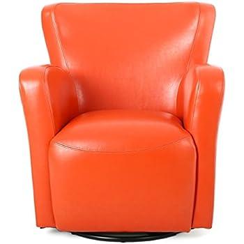 Anselmo Orange Bonded Leather Wingback Swivel Club Chair