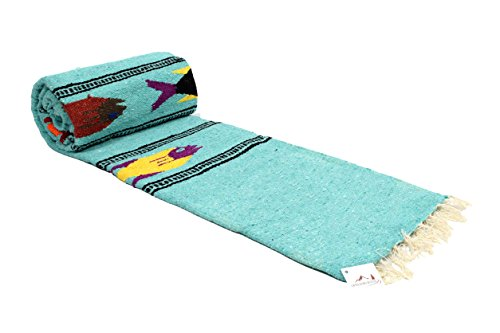 Open Road Goods Thick Mint Mexican Yoga Blanket - Serape Fish Design - Handmade by Open Road Goods