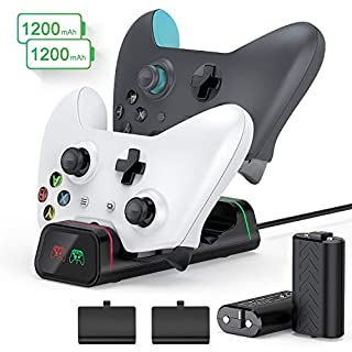 Xbox One Controller Charger - 2 × 1200mAh Xbox One Rechargeable Battery Packs High Speed Dual Xbox One/One S/One Elite Docking/Charging Station Xbox Wireless Controllers Batteries Charge Kit