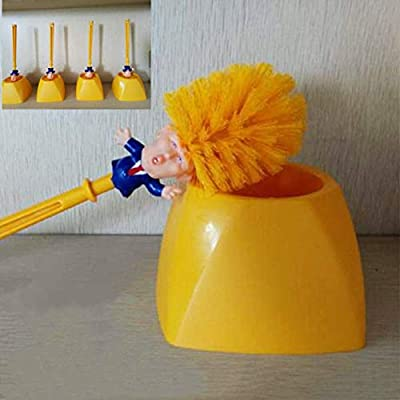 Original Funny Trump Toilet Brush, MtShell Spoof Commander Image Toilet Brushs with Base Make Your Toilet Great Again