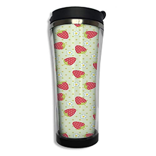 Travel Coffee Mug 3D Printed Portable Vacuum Cup,Insulated Tea Cup Water Bottle Tumblers for Drinking with Lid 14.2oz(420 ml)by,Fruits,Spring Daisy Blooms Fresh Strawberry Polka Dots Cheerful Life Bab (Daisy Creamer)