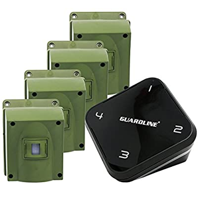 1/4 Mile Long Range Wireless Driveway Alarm w/Four Sensors Kit Outdoor Weather Resistant Motion Sensor/Detector- Best DIY Security Alert System- Protect Home, Perimeter, Yard, Garage, Pool