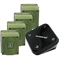 1/4 Mile Long Range Wireless Driveway Alarm w/ Four Sensors Kit. Top Rated Outdoor Weatherproof Motion Sensor/Detector- Best DIY Security Alert System- Protect Home, Perimeter, Yard, Garage, Pool